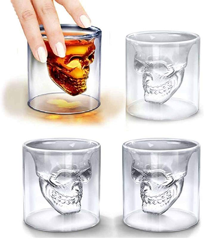 LOHOME Fashionable Creative Crystal Double Layer Glass Cup Skull Head Shaped Wine Beer Juice Glass Shot Glass Goblet 4 PCS