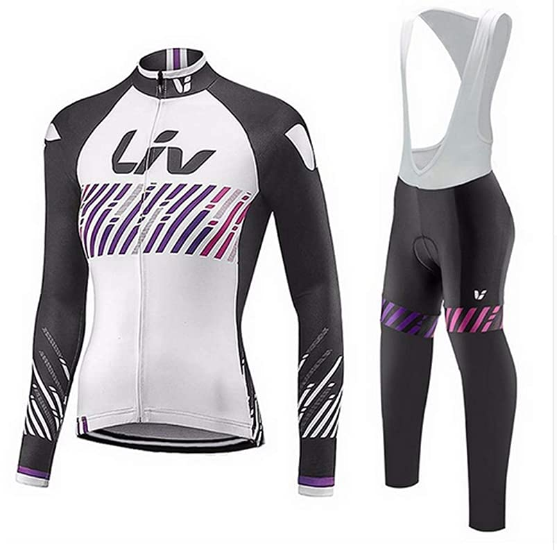 Cycling Jerseys Women's Long Sleeve and Bib Pants Set Bicycle Jersey Winter Thermal Fleece Breathable Jersey V308 dfbtdyxx482607