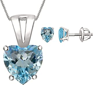 """2Hearts Blue Topaz Solitaire Heart Pendant 18"""" Necklace & Earrings Set 4 Prong in 14K White Gold Plated"""