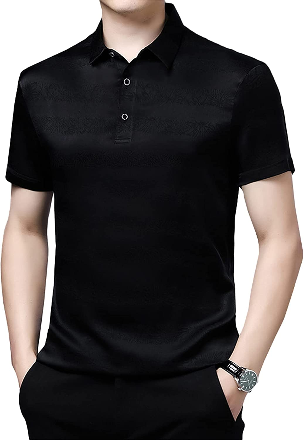 Men's Young And Middle-Aged Business Casual Silk 100% Short-Sleeved T-Shirt Simple Men's Top Tee Button Down Lapel Collar