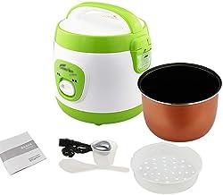 Rijstkoker (2L-350W) Huishoudelijke Mini Rijstkoker, automatische warmtebehoud, met spatel en maatbeker, voor 1-2 personen