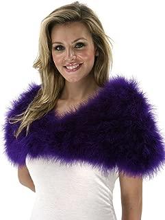 Regal Purple Natural Marabou Feather Shrug - Vintage Style Bolero Wedding Wrap for Women w/Hook