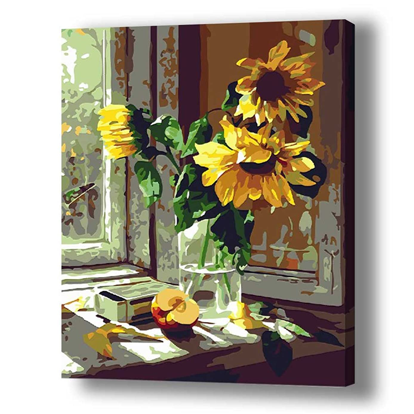 TwoSteps 24x30inch Large Paint by Numbers for Adults Kids Paint by Number Kits Linen Canvas Fine Paintbrushes Sunflowers by The Window