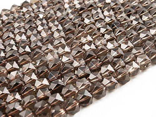 Beads Ok, DIY, Ahumado Cuarzo, B-grado, Genuino, Naturales, 8mm Abalorio Cuenta Mostacilla o Chaquira De Piedra Semipreciosa Hexágono Facetado, ~40cm un Tira. (Smoky Quartz,Faceted Hexagon Bead)