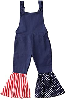 TheFound Toddler Kids Baby Girl Summer Overalls Bell-Bottom Jumpsuit Romper Pants Jeans 4th of July Suspender Pants Outfits