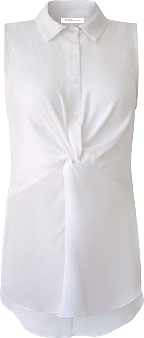 BCBGeneration Women's Sleeveless Knotted Front Top