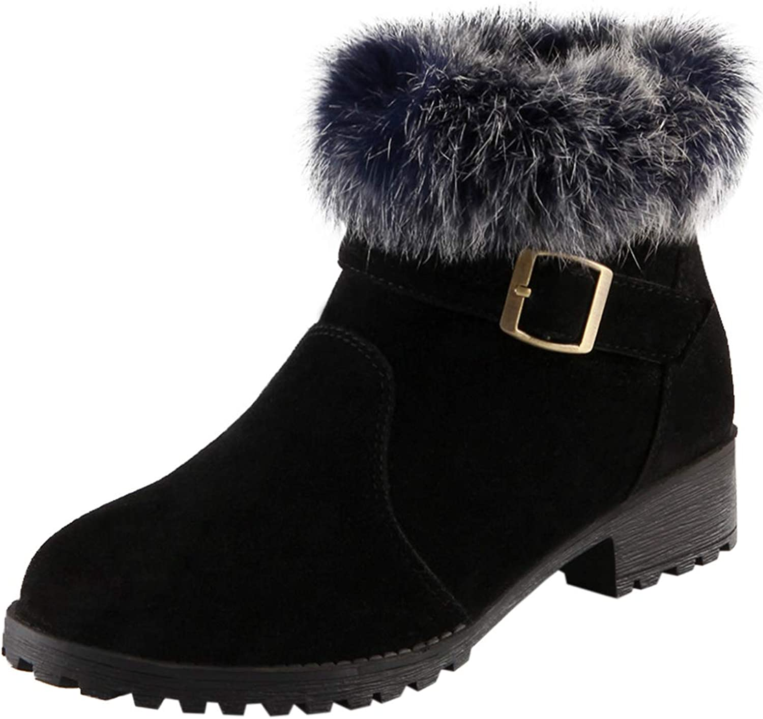 Vitalo Womens Low Block Heel Ankle Boots Ladies Collar Fur Lined Winter Warm Boots
