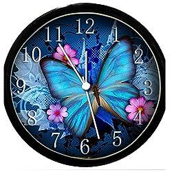 Krazy Klockz Glow in The Dark Wall Clock - Blue Butterfly & Pink Flowers