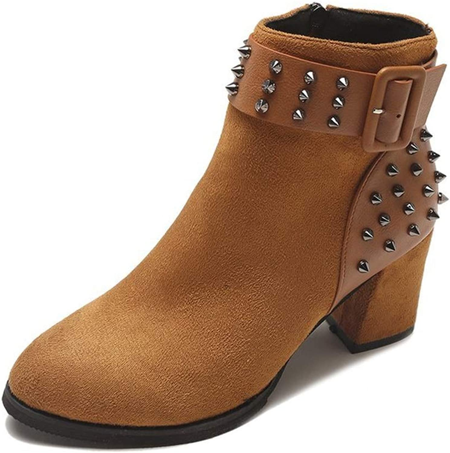Women's Ankle Boots, Fashion Rivet shoes Autumn Winter New Pointed Stilettos Suede Martin Booties Black Brown (color   B, Size   39)