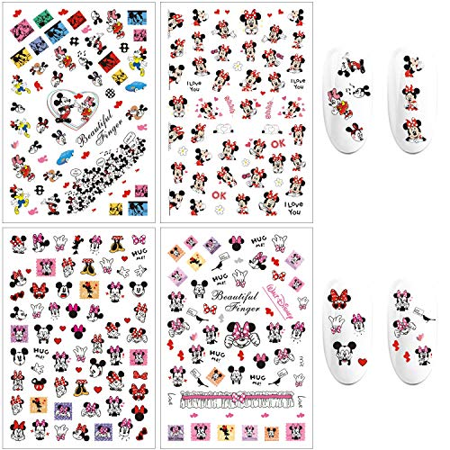 3D Mickey Nail Art Stickers Mickey Mouse Nail Decals Self Adhesive Cute Kawaii Nail Sticker Cartoon Designer Nail Stickers for Women Kids Girls Gifts (4 Sheets 250+ Decals)