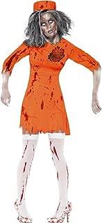 Ladies Orange Latex Death Row Dead Zombie Prisoner Convict Halloween Fancy Dress Costume Outfit