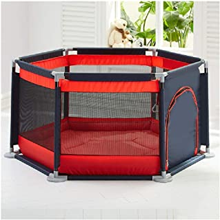Baby playpen-SYY Hexagonal Design Toddler Fence Easy Install And Clean Stable Structure Save Space Blue Pink Red  Color Red