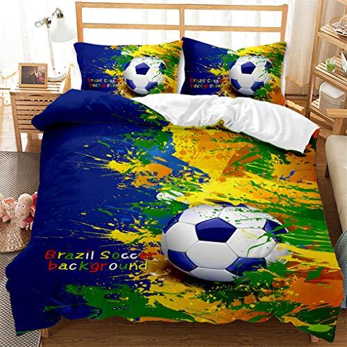 Blanco Gris Negro Azul Multicolor Pintado Juego de Cama Fútbol Baloncesto Rugby Béisbol Funda nórdica y Funda de Almohada Niños Niño Microfibra (Estilo 4, 180x220 cm - Cama 105 cm)