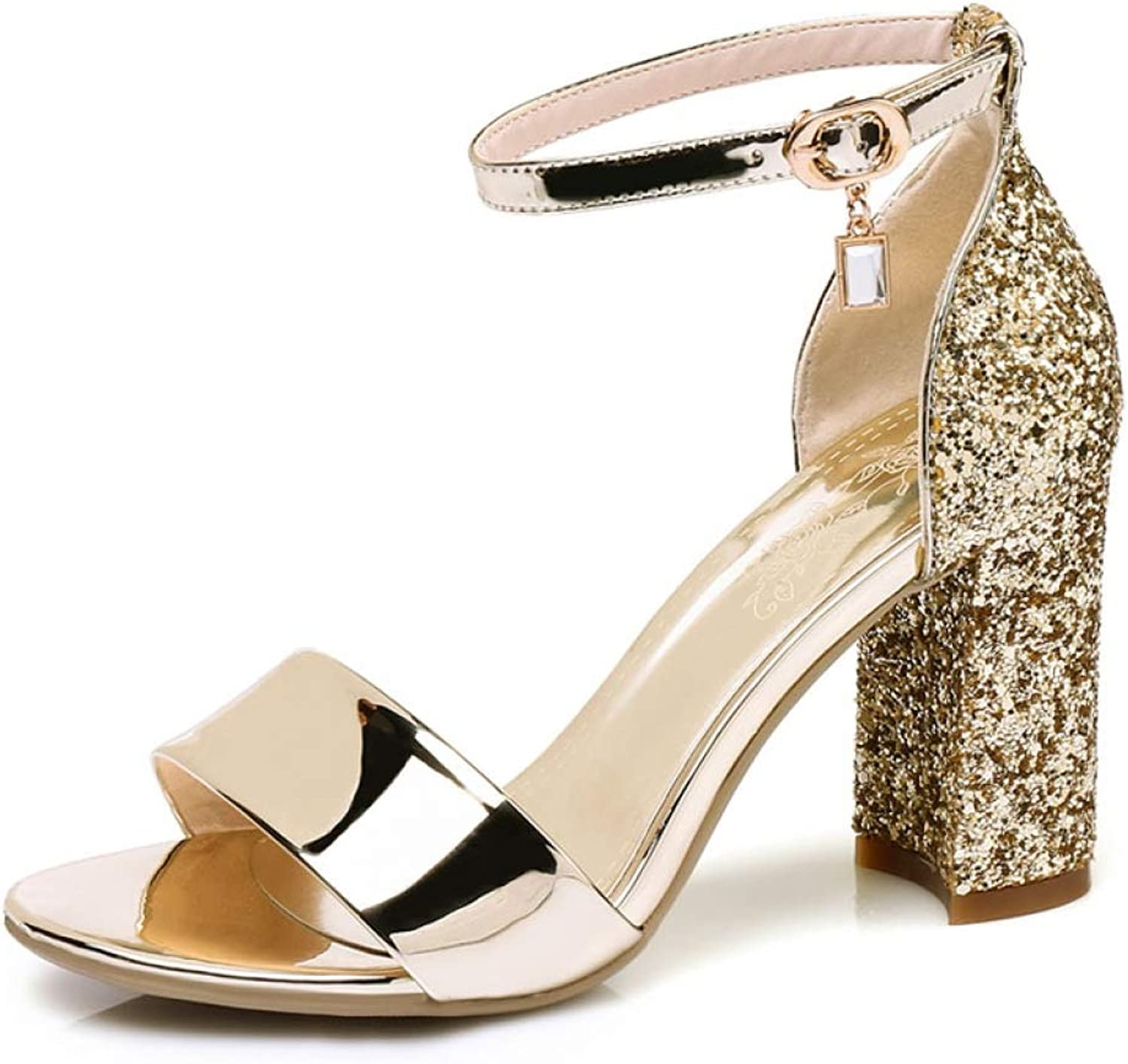 T-JULY Women's Fashion Bling Solid High Pumps Ankle Strap Ladies Sandals Open Toe Female's Extreme High Heels Sandals