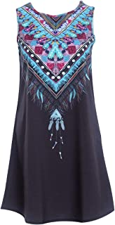 Intercorey Fashion National StyleカジュアルルーズラウンドネックAラインドレスノースリーブ上記膝丈ドレス、女性用