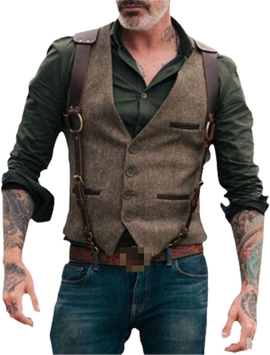 Men's suit vest fine wool tweed slim fit casual cotton suit vest