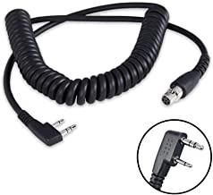 Rugged Radios CC-Ken 2-Pin to 5-Pin Coil Cord Cable for Rugged V3, RH5R, RDH, Baofeng, Kenwood, HYT & Relm Two Way Handhel...