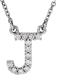 0.12 Carat (ctw) 14K Diamond Uppercase Letter 'A' to 'Z' Initial Pendant (Silver Chain Included), White Gold