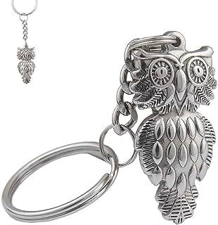 Uptsky OWL Keychain, Cute Owl Keychain for Men Women,Silver Owl Key Chain Ring Gift Padent Owl Key Ring