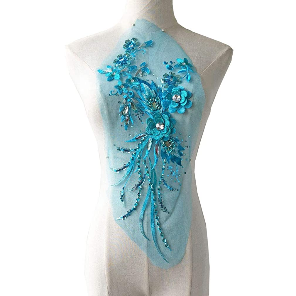 Vintage Flower Applique Patch Sequined Rhinestone Lace Motif 3D Flower Beading Embroidery Addition for Lyrical Dance Costumes Party Dress Turquoise Color