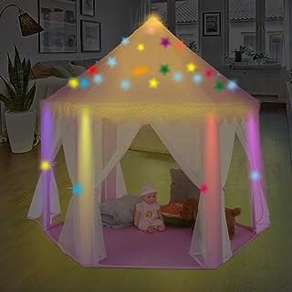 Tienda de Campaña Infantil para Niños Castillo de Princesa, Casita de Juego Plegable para Interior y Exterior con Luces de colores Estrellas Brillantes en la Oscuridad, Regalo Perfecto para Ninos Niña