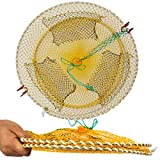 Drasry Three Entrances Large Crab Traps Portable Collapsible Trap for Crabs Bait Lobster Crawfish Shrimp Fish Net 17.7in x 7.9in (45cm x 20cm) (Yellow)