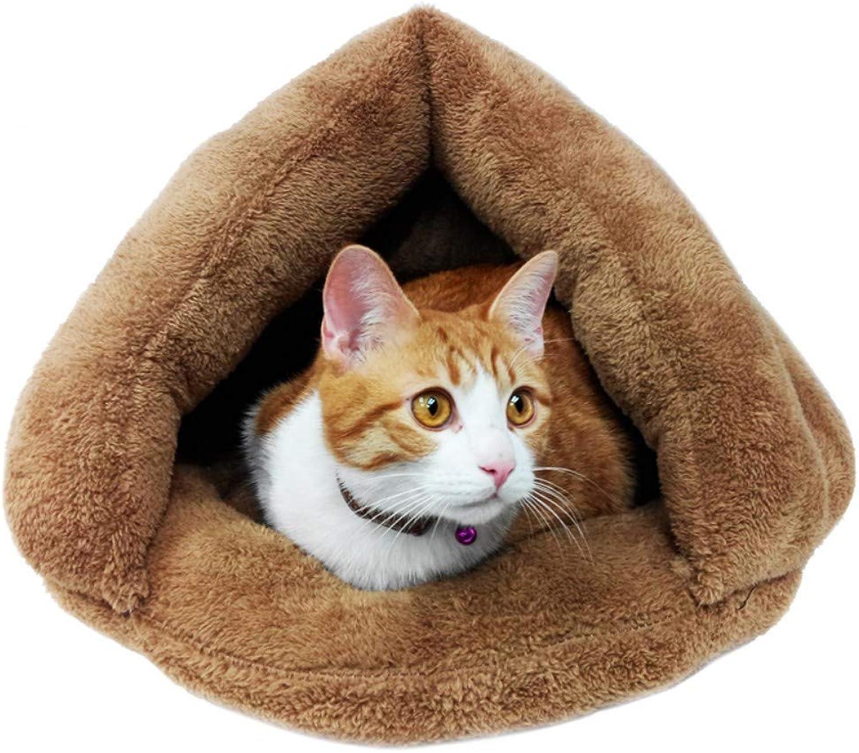 NINGVONG Cat litter four seasons universal winter warm cat litter kennel mat Teddy puppy nest pet nest cat supplies, brown, M