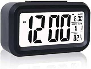 VVD Digital Smart Backlight Battery Operated Alarm Table Clock Automatic Sensor Date & Temperature
