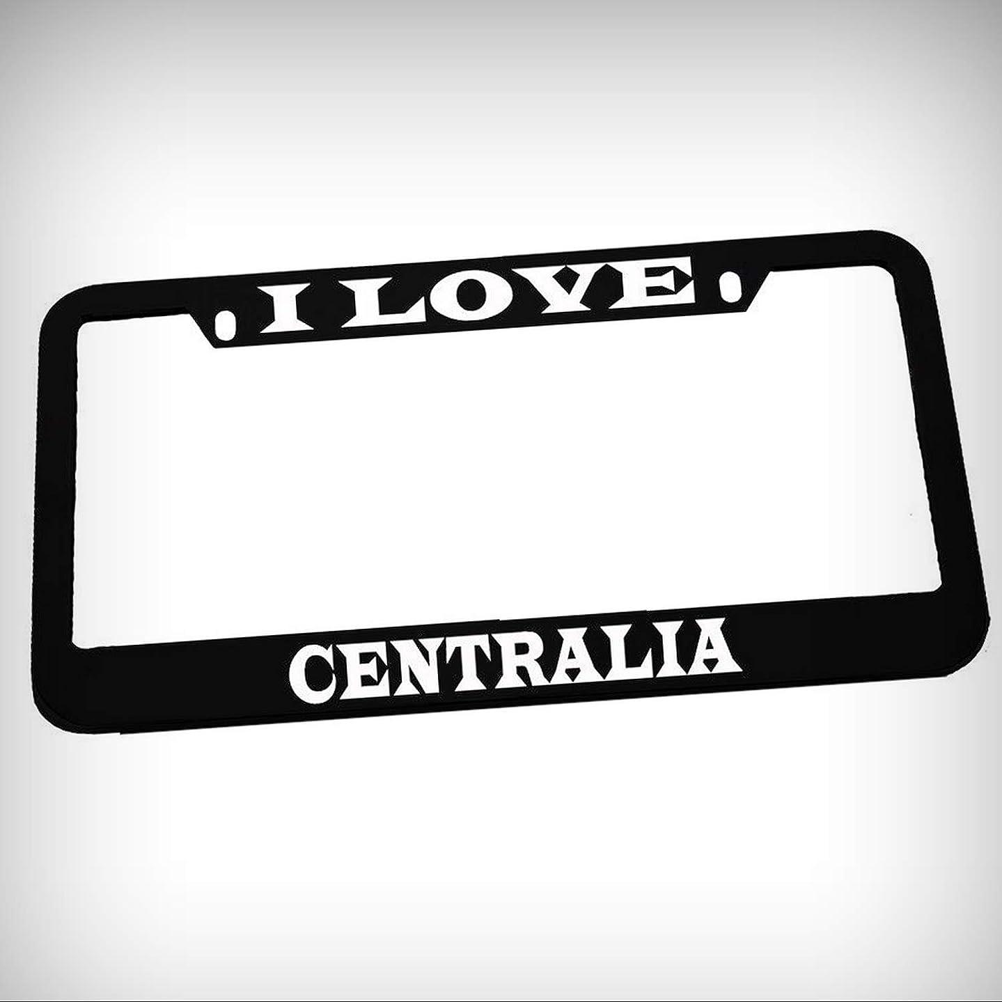 I Love Centralia Zinc Metal Tag Holder Car Auto License Plate Frame Decorative Border - Black Sign for Home Garage Office Decor
