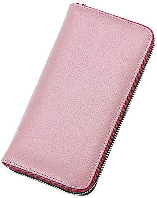Allx Women's simple zipper wallet genuine leather