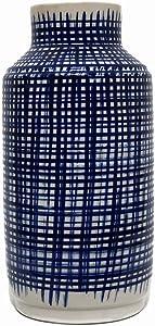 Hunter & Co. Altezza blu e bianco Quinn vaso con motivo a incrocio moderna ceramica decorazione domestica alta 33cm