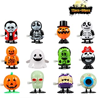 FunsLane 12 Pcs Halloween Wind Up Toy and 60 Pcs Temporary Tattoo for Kids, Halloween Assortment Goody Bag Filler, Super Trick or Treat Idea, Holiday Party Favor, Children's Birthdays Gifts