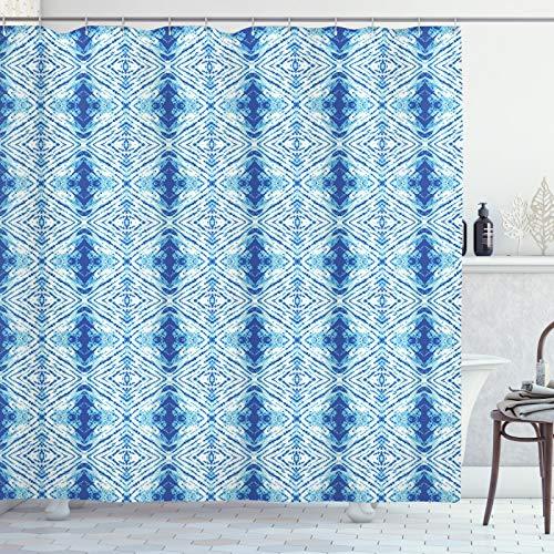 ABAKUHAUS Psychedelic Douchegordijn, Grunge Hip VolksOntwerp, stoffen badkamerdecoratieset met haakjes, 175 x 240 cm, Pale Blue en Royal Blue