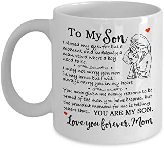 My Cuppa Joy Gift for Son - Christmas Mother Son Gift Coffee Mug - Birthday Gift for Son - 11oz Novelty Tea Cup - to My Son Love, Mom Touching Quote Great Xmas, Graduation Present for Him
