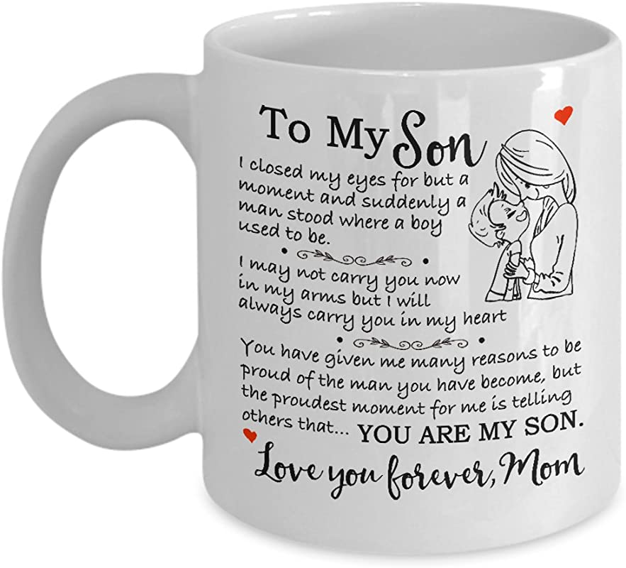My Cuppa Joy Gift For Son Christmas Mother Son Gift Coffee Mug Birthday Gift For Son 11oz Novelty Tea Cup To My Son Love Mom Touching Quote Great Xmas Graduation Present For Him