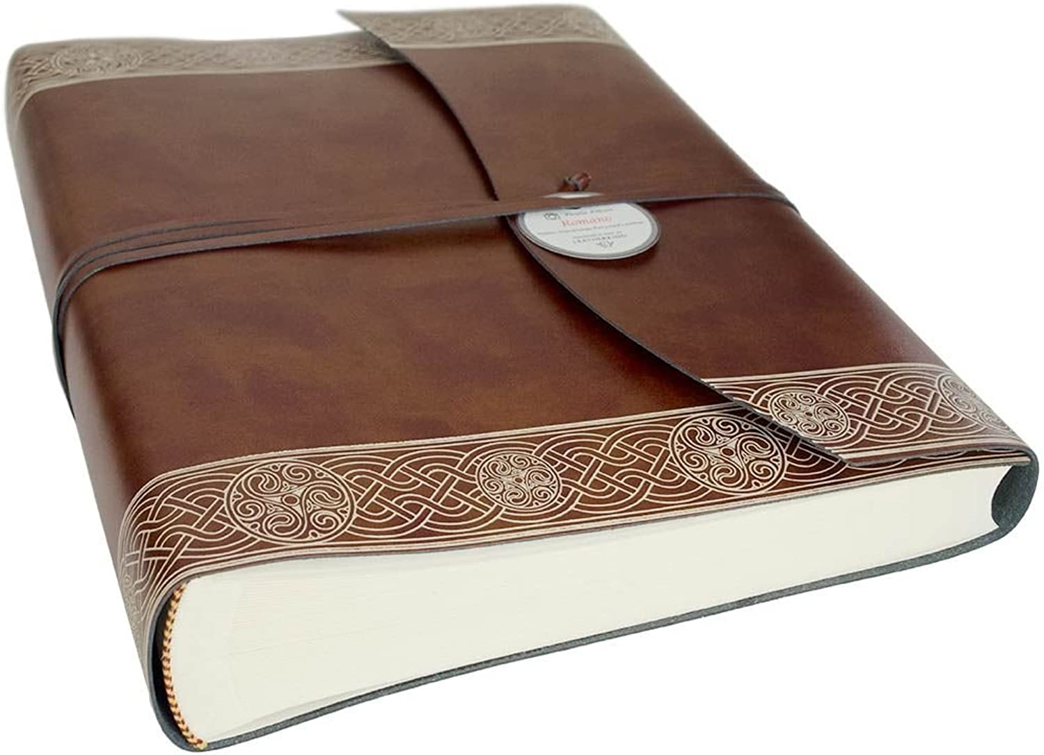 LEATHERKIND Olympia Recycled Leather Photo Album, Large Celtic Brown - Handmade in