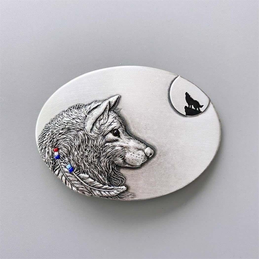 Howling Wolf Oval Western Detroit Mall Silver 2021 autumn and winter new Plated Belt Buckle