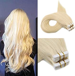Full Shine Remy Tape Extensions Double Sided Glue Hair Extensions 12 Inch Short Color 613 Blonde Straight Tape In Human Hair Extensions 100 Percentage Real Hair 30 Grams