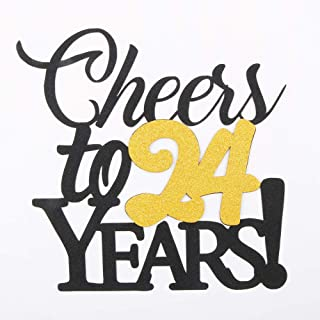 LVEUD Happy Birthday Cake Topper Black Font Golden Numbers Cheers to 24 Years Happy Birthday Cake Topper -Wedding,Anniversary,Birthday Party Decorations (24th)