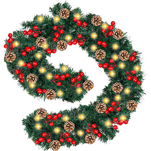 Christmas Garland with Light Battery Operated - [12 Foot by 10 Inch] 100 LED Lights Prelit Garland Lighted Wreaths Greenery with Pine Cone/Red Berry, Indoor Outdoor Xmas Decoration Home Fireplace