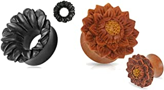 Zaya Body Jewelry 2 Pairs of Organic Jackfruit Areng Lotus Flower Wood Hand Carved Ear Plugs Tunnels Gauges 0g 00g 1/2 9/16 5/8 3/4 7/8 1 Inch