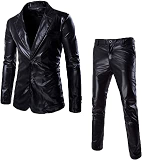 Men's Fashion Slim Fit Two Button Blazer Jacket Suits Nightclub Style Long Sleeve Shiny Dance Top Mens Trousers Leather Me...