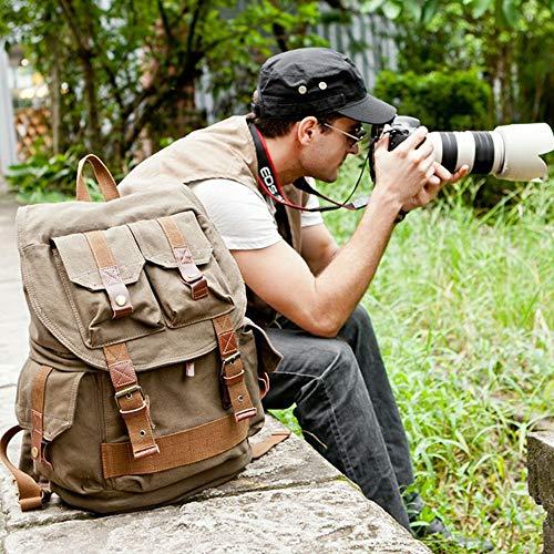 YXCM Mochila para cámara, fotografía Retro. Resistente a terremotos, Modelos de Hombres y Mujeres Resistentes. Liner de Lente Cámara Digital SLR,Armygreen