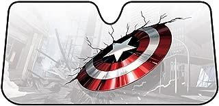 Captain America Broken Shield Marvel Comics Auto Car Truck SUV Vehicle Universal-fit Front Windshield Sunshade - Accordion Sun Shade