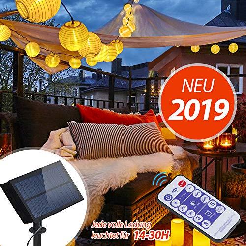 InnooTech 6m 30 LED Solar warmweiß Lampion Lichterkette mit 12 Tasten Fernbedienung mit 8 Modi und 2m Zuleitungskabel (warmweiss)