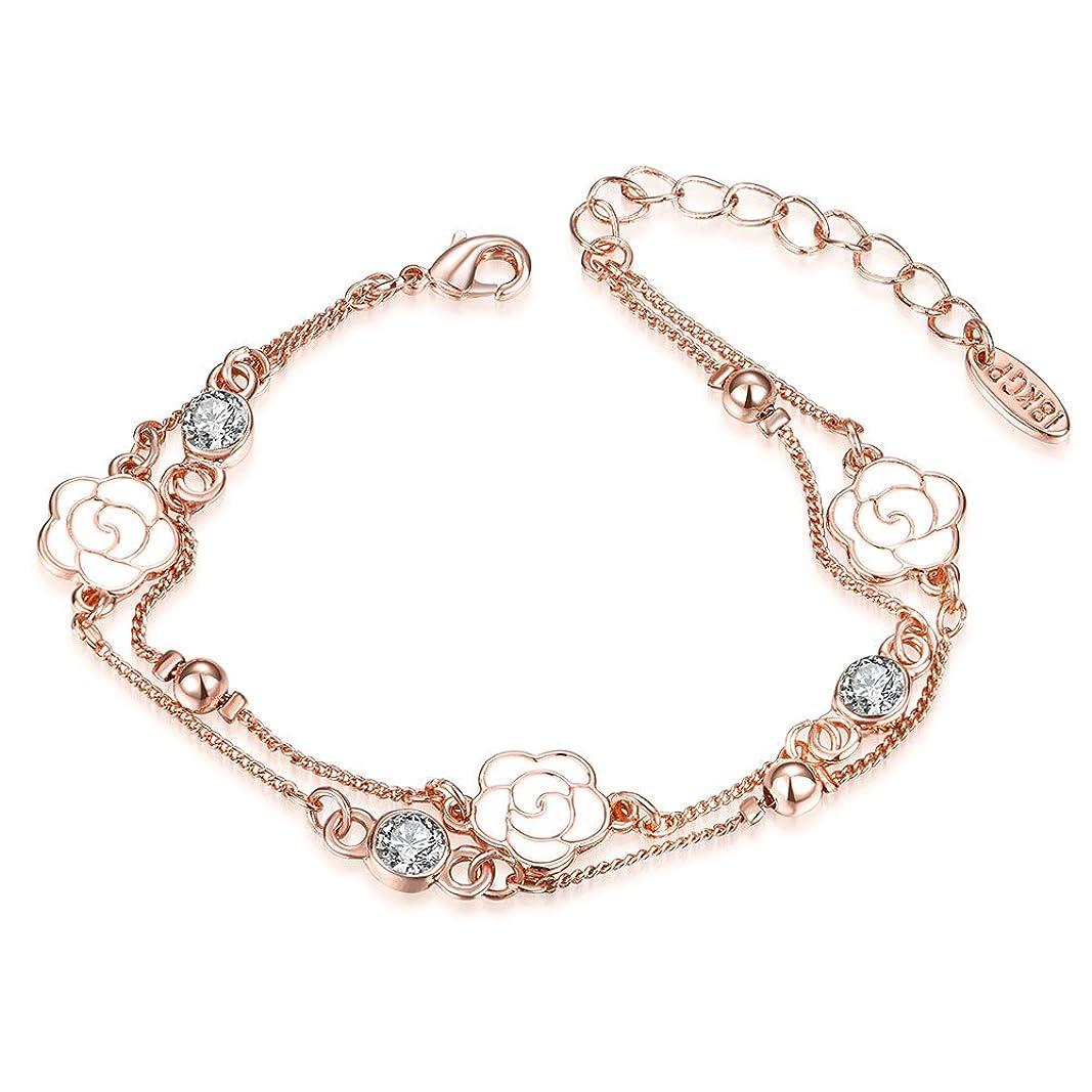 変動するいちゃつくオーロックかわいい ブレスレットバラ桜の花??k 三一輪の花??ブレスレット女款 流行
