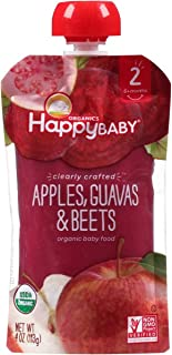 Happy Baby, Organic Stage 2 Baby Food; Apples, Guavas & Beets, Pack of 16, Size - 4 OZ, Quantity - 1 Case