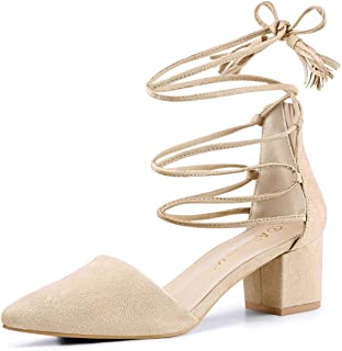 Women's Pointed Toe D'Orsay Block Heels Lace Up Pumps
