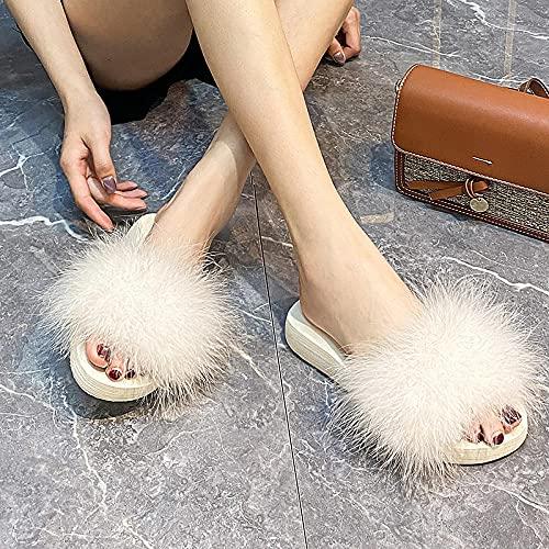 Zapatillas de piel para hombre, 2021, con plumas rojas de verano, tacón alto, con una palabra arrastrar rojo, para playa, fiesta, natación, 38 (24 cm) _G