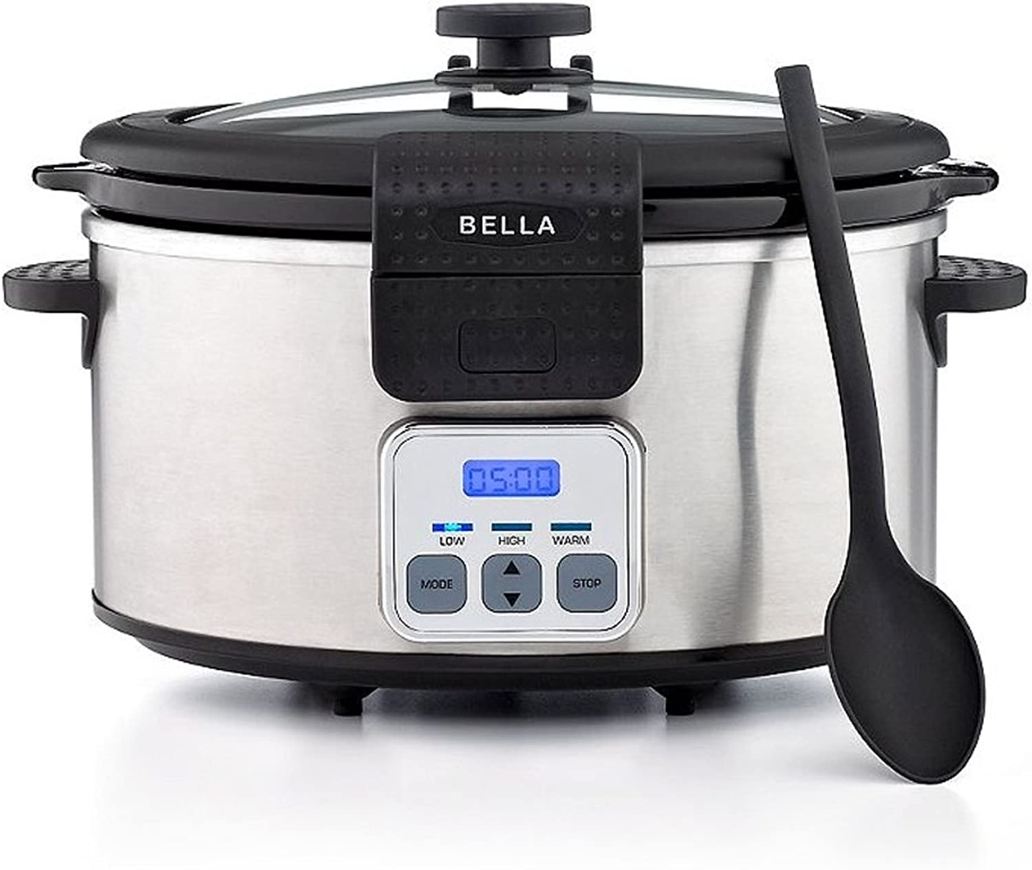 BELLA 6 Quart Programmable Locking Lid Slow Cooker, Stainless Steel